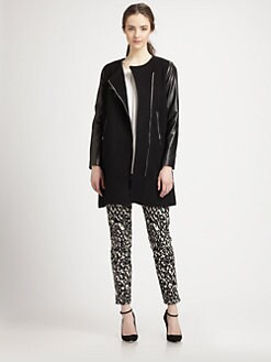 Milly - Chloe Leather-Sleeved Wool-Blend Coat