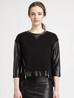 Milly - Nora Leather-Sleeved Wool-Blend Sweatshirt