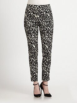 Milly - Bailey Cheetah-Print Straight-Leg Ankle Pants