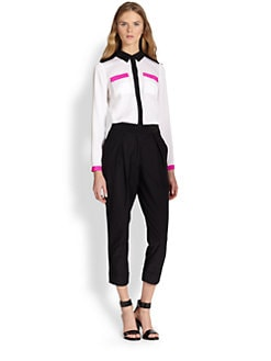 Milly - Miranda Stretch Silk Colorblock Shirt