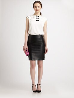 Milly - Isabel Leather Bow-Detailed Stretch Silk Top