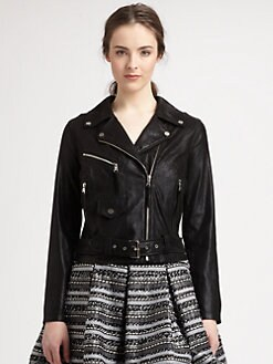Milly - Brushed Leather Motorcycle Jacket