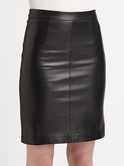 Milly - Edith Leather Pencil Skirt