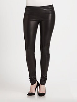 Milly - Monica Leather Skinny Pants