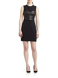 Milly - Lisa Leather-Bodice Stretch Crepe Dress