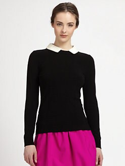 Milly - Leather-Collared Sweater