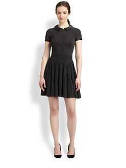 Milly - Josephine Leather-Collared Stretch Knit Dress