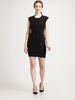 Milly - Ditta Chain-Detailed Merino Wool & Cotton Dress