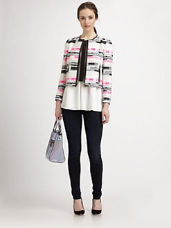 Milly - Harper Leather-Trimmed Tweed Jacket