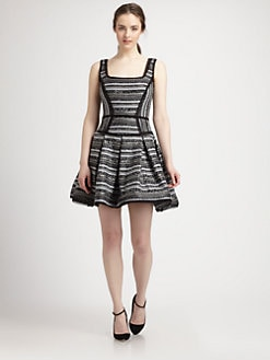 Milly - Piper Chiffon-Trimmed Patterned Jacquard Dress