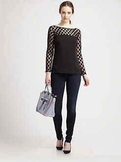 Milly - Sheer Polka-Dot Yoke Top