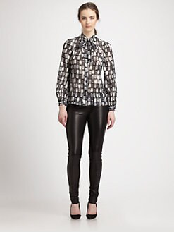Milly - Stretch Silk Owl-Print Pussybow Blouse