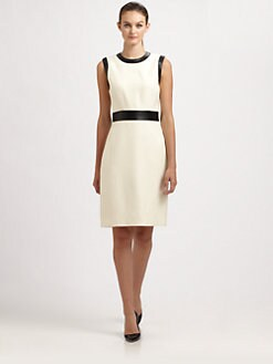Milly - Contrast-Trim Sheath Dress