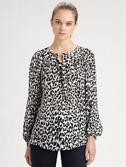 Milly - Cheetah-Print Silk Blouse