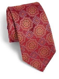 Saks Fifth Avenue Collection - Large Medallion Silk Tie