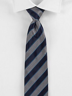 Saks Fifth Avenue Men's Collection - Double-Textured Stripe Tie
