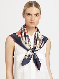 Salvatore Ferragamo - Zerbra Silk Foulard Scarf