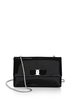 Salvatore Ferragamo - Vara Ginny Piuma Patent Leather Bow Bag
