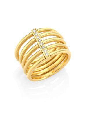 Moderne Penta Diamond & 18K Yellow Gold Ring