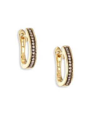 Eclipse Porcupine Diamond & 18K Yellow Gold Hoop Earrings/1