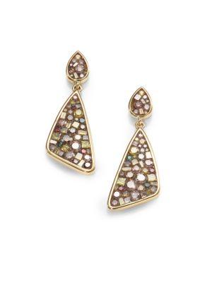 Cinnamon Diamond & 18K Yellow Gold Mini Kite Earrings