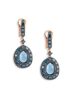 Dusty Diamonds Blue Topaz Drop Earrings