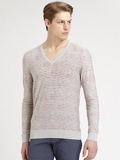 Hugo - Striped V-Neck Sweater