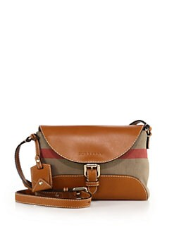 8e4a54fc3793 Burberry Small Leather   Canvas Check Henham Crossbody Bag from Saks ...