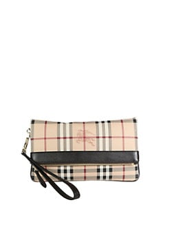 Burberry - Adeline Coated Canvas Fold-Over Clutch
