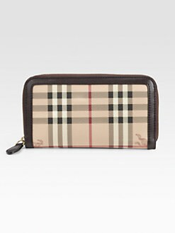 Burberry - Check Leather Continental Wallet