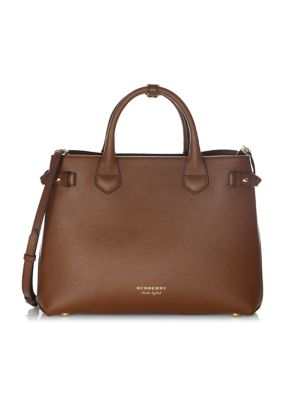 MEDIUM BANNER HOUSE CHECK LEATHER TOTE - BROWN