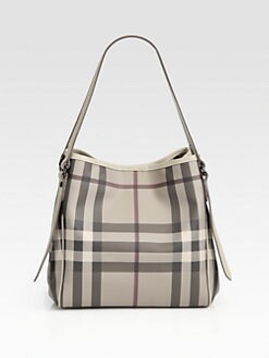 Burberry - Check Canvas and Leather Tote Bag