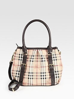 Burberry - Small Canvas & Leather Check Bag