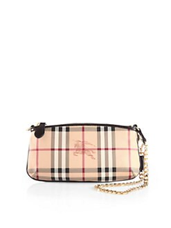 Burberry - Clara Haymarket Coated Canvas Wristlet