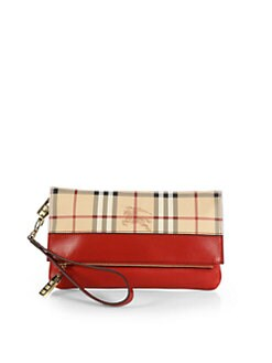 Burberry - Adeline Haymarket Mixed-Media Fold-Over Wristlet