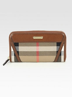 Burberry - Ziggy Mixed-Media Zip-Around Wallet