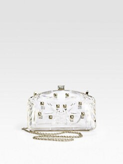Valentino - Studded Carved Transparent Minaudiere Clutch