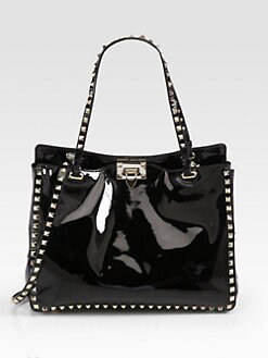 Valentino - Rockstud Patent Leather Medium Tote