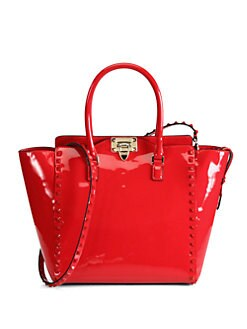 Valentino - Punkouture Patent Leather Rocklock Tote