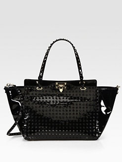 Valentino - Punkouture Patent Leather Allover Studs Medium Tote