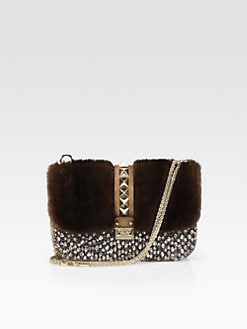 Valentino - Mixed-Media Medium Lock Shoulder Bag