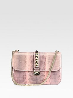 Valentino - Snakeskin Rocklock Medium Shoulder Bag