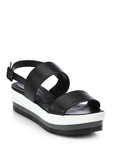 Leather Double-Strap Platform Sandals