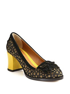 Fendi - Austen Jacquard Canvas & Suede Loafer Pumps