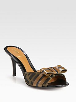 Fendi - Pride & Prejudice Jacquard Canvas & Leather Bow Sandals
