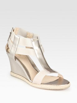 Fendi - Carioca Pearlized Patent Leather Wedge Sandals