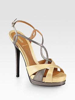 Fendi - Twisted Textured Metallic Leather Platform Sandals