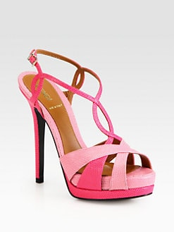 Fendi - Lizard-Print Leather Platform Sandals