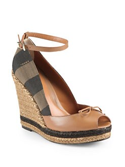 Fendi - Leather & Canvas Espadrille Wedge Sandals