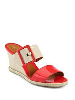 Fendi - Vernis Patent Leather Wedge Slides